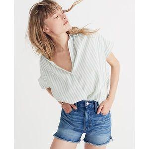Madewell Mint Stripe Central Shirt EUC
